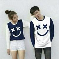 CP XOXO SMILE PANJANG/2W GESER GAMBAR KEKIRI/baju/kaos/couple/murahh