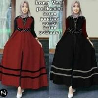 long vest outer panjang cardigan cardy cardi hijab polkadot unik lucu