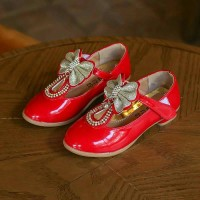 Sepatu Pesta Anak Import Exclusive Ribbon Shine Bling Glossy Red