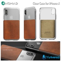 Nomad iPhone X Clear Case Leather Horween Rugged Ultra Drop Guard