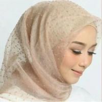 Jilbab Kerudung Segi Empat Linen Organza Dot Brown