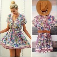 Jual Baju mini midi dress boho bohemian tribal etnik korea pantai floral Murah