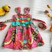 Dress Batik Bunga-bunga anak perempuan import