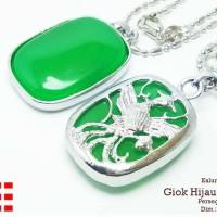 harga Vee Kalung Liontin Terapi Kesehatan Batu Giok Hijau Persgi Burung Tokopedia.com