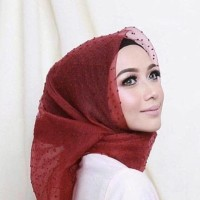MURAH !! Jilbab Kerudung Segi Empat Linen Organza Dot Merah