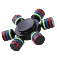 Brass Rainbow Fidget Spinner Finger Hexagonal with Metal Box