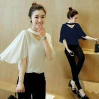 Nifti bahan twiscon soft fit L blouse lengan pendek angan kembang