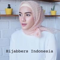 MURAH !! Jilbab Kerudung Segi Empat Linen Organza Dot Soft Pink