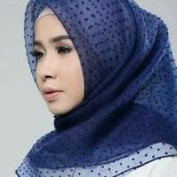 MURAH !! Jilbab Kerudung Segi Empat Linen Organza Dot Soft Navy Blue