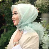 MURAH !! Jilbab Kerudung Segi Empat Linen Organza Dot Light Green