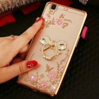 Case Casing Cover Casing Softcase Diamond Flowers Ring Oppo R7s R7 s