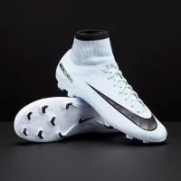Sepatu Bola Nike Mercurial Victory VI Ronaldo DF FG White Blue Tint
