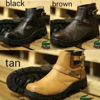 sepatu boots pria terbaru crocodile bonex safety kulit sapi rubber sol