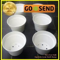 Pot Bunga 17cm Putih - Pot Tanaman Hias Plastik Cantik 17 Cm Grosir