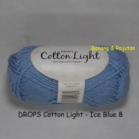 Jual DROPS Cotton Light biru muda - benang rajut import katun blend impor Murah