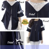 Jual Big Agnes Brukat Cantik Baju Atasan Wanita Bigsize Jumbo Spandex Rayon Murah