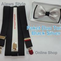 Jual Paket Suspender/Bretel/Tali Jojon 2,5cm + Dasi Kupu Duo Tone Dewasa Murah