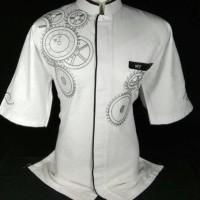 Jual baju koko putih kombinasi lengan pendek Murah