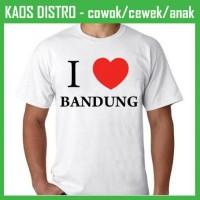 Jual Kaos I Love Bandung 2 LV24 Oblong Distro Murah