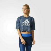 Baju olahraga Wanita kaos adidas crop tee shirt women original