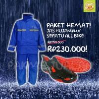 Jual PAKET HEMAT Jas Hujan AXIO & Sepatu ALL BIKE - ANTI BASAH! Murah
