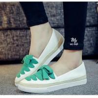Sepatu flat shoes Kets SLIP ON PUTIH PITA sepatu sneaker slop wanita