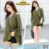 Jumbo Ladies Green Baju Atasan Wanita Blouse Bigsize Jumbo Spandex