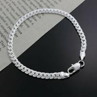 Gelang Rantai Pria Lapis Perak Silver Chain Men Bracelet Kado Whiteday