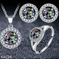 Jual Set Perhiasan Lapis Emas Putih 18K Batu Rainbow Mystic Quartz KAC26 Murah