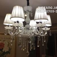 Jual Lampu Gantung Kristal Lilin 6 + Kap - Free Bohlam LED (White Edition) Murah