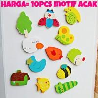 magnet tempelan kulkas mini kayu lucu animal mainan edukatif anak