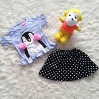 Baju Bayi Setelan Anak Perempuan Rok Polkadot Penguin Earmuff