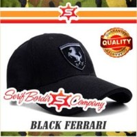 Topi Baseball Ferrari SuperBlack California Convertible GT Bordir Logo