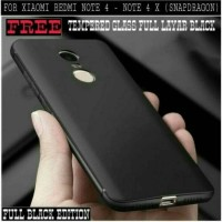 Jual Case Xiaomi Redmi Note 4x FREE TEMPERED GLASS WARNA BLACK FULL LAYAR Murah