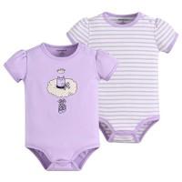 Baju Bayi - Mom n Bab Short Bodysuit 2in1 Purple Monkey