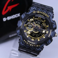 JAM TANGAN PRIA G SHOCK GA 110 ANTI AIR MOTIF BLACK LIST GOLD