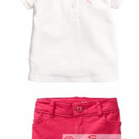 Set HM Polo Shirt White | Baju Setelan anak perempuan | Baju Polo anak