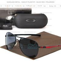 SALE Sunglass Metal Oakley Plaintiff Black Red Polarized Lens