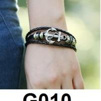 Gelang Kulit Jangkar Stud Metal Vintage G010