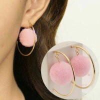 Pom Pom Hallf Circle Exaggerated Earrings