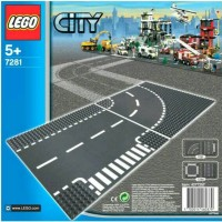 Lego 7281 City T-Junction and Curved Road Plate - Original Lego