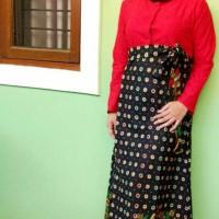 gamis dress batik ayumi kombinasi batik damiana