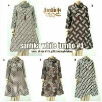 SANTIKA WHITE JUMBO. TUNIK / TUNIC BATIK SOLO. DRESS / BAJU HIJAB SOLO