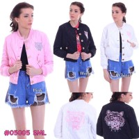 Jaket wanita import premium berkualitas gambar kenzo pink putih hitam