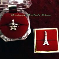Jual Set Perhiasan EifFel Tower import perak lapis emas putih Murah