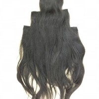 RAMBUT EXTENSION HUMAN HAIR CLIP 100% (1set 3layer x 60CM)