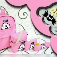 harga Paket Tas Sekolah Anak Set 4 In 1 Beli 1 Bonus 3 Panda Pink Hitam Abu Tokopedia.com