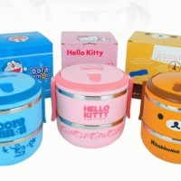 Jual RANTANG 2 SUSUN STAINLESS LUNCH BOX HELLO KITTY DORAEMON RILAKUMA EAT  Murah
