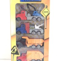 (Murah) Set of 4Pcs Truck Construction Toys