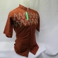 New! Baju Koko Orang Lengan Pendek Busana Muslim Pria Modern Bordir